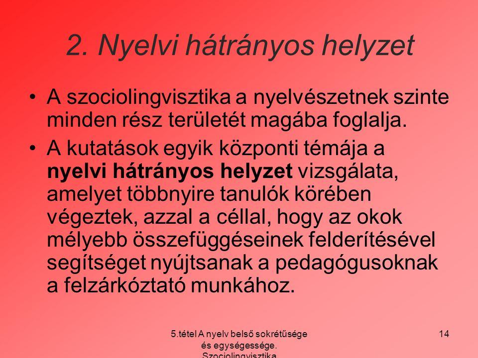 2. Nyelvi hátrányos helyzet
