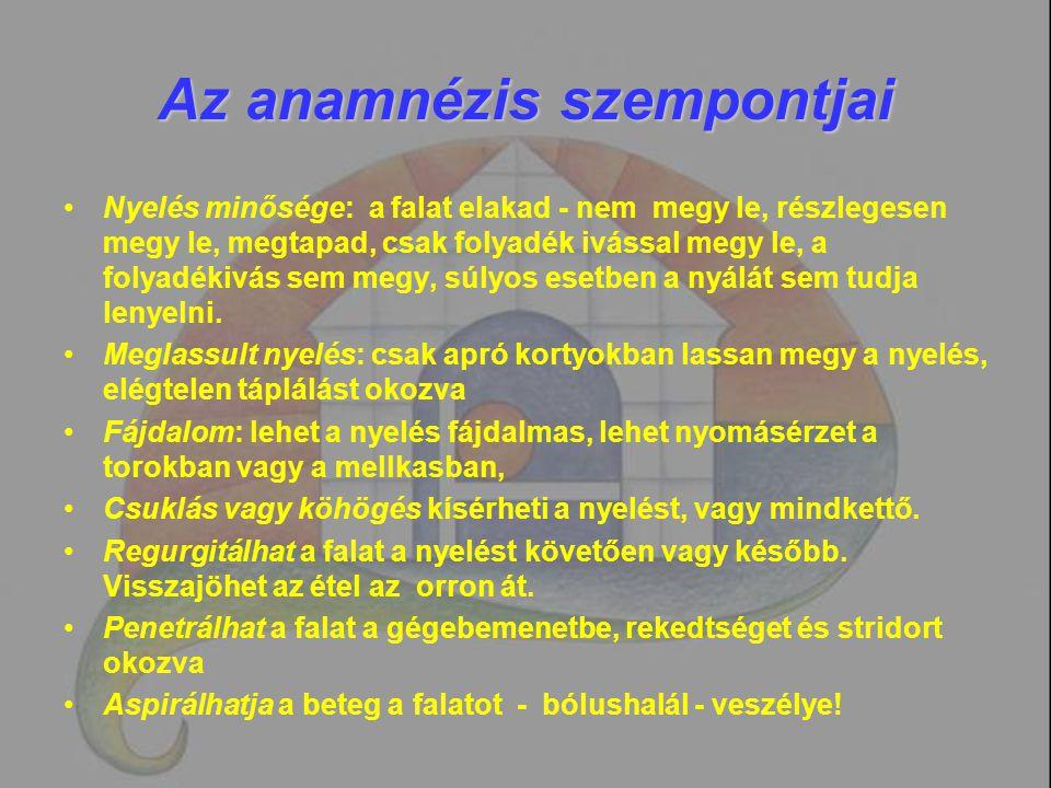 Az anamnézis szempontjai