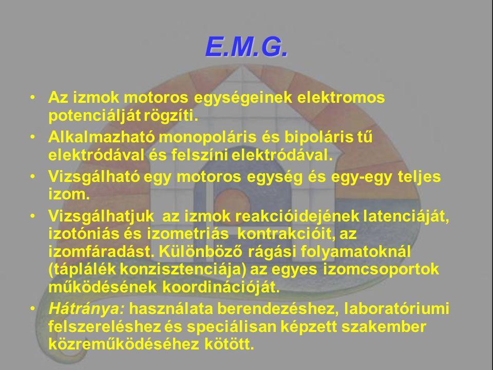 E.M.G. Az izmok motoros egységeinek elektromos potenciálját rögzíti.