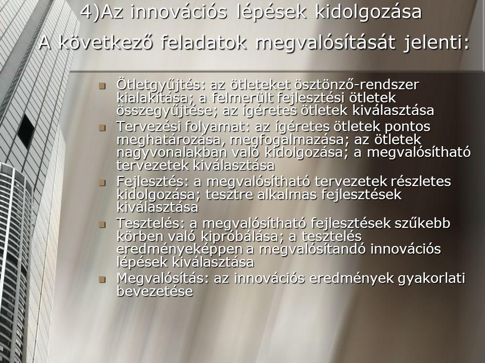 4)Az innovációs lépések kidolgozása A következő feladatok megvalósítását jelenti: