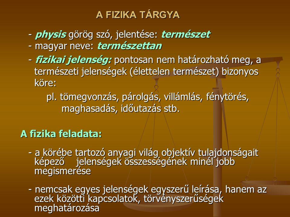 A FIZIKA TÁRGYA - physis görög szó, jelentése: természet - magyar neve: természettan.