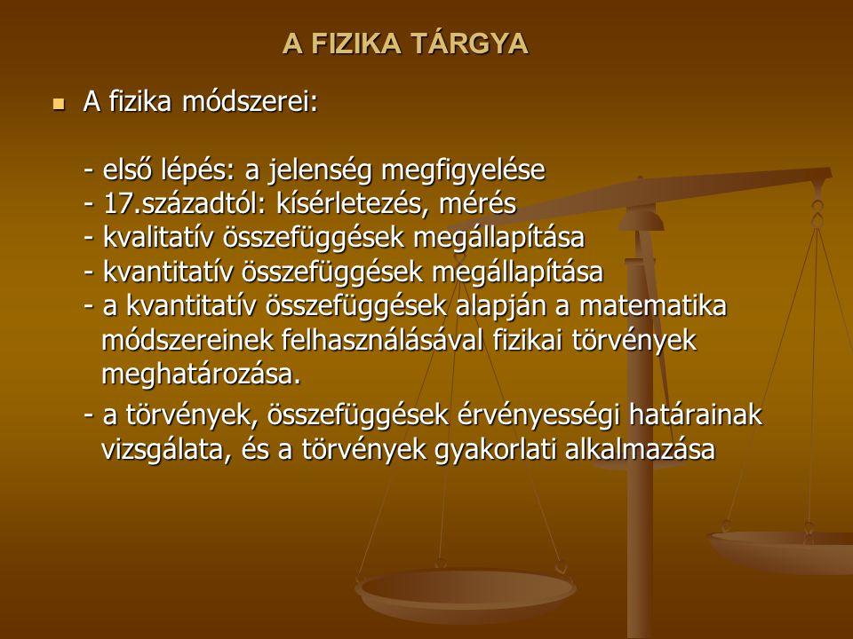 A FIZIKA TÁRGYA