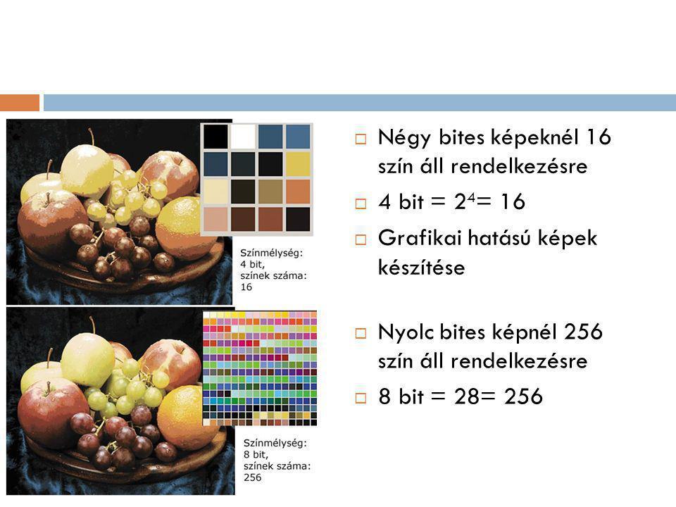 Négy bites képeknél 16 szín áll rendelkezésre