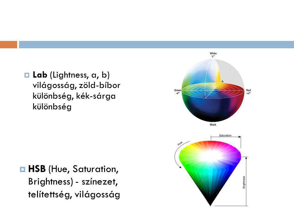 HSB (Hue, Saturation, Brightness) - színezet, telítettség, világosság