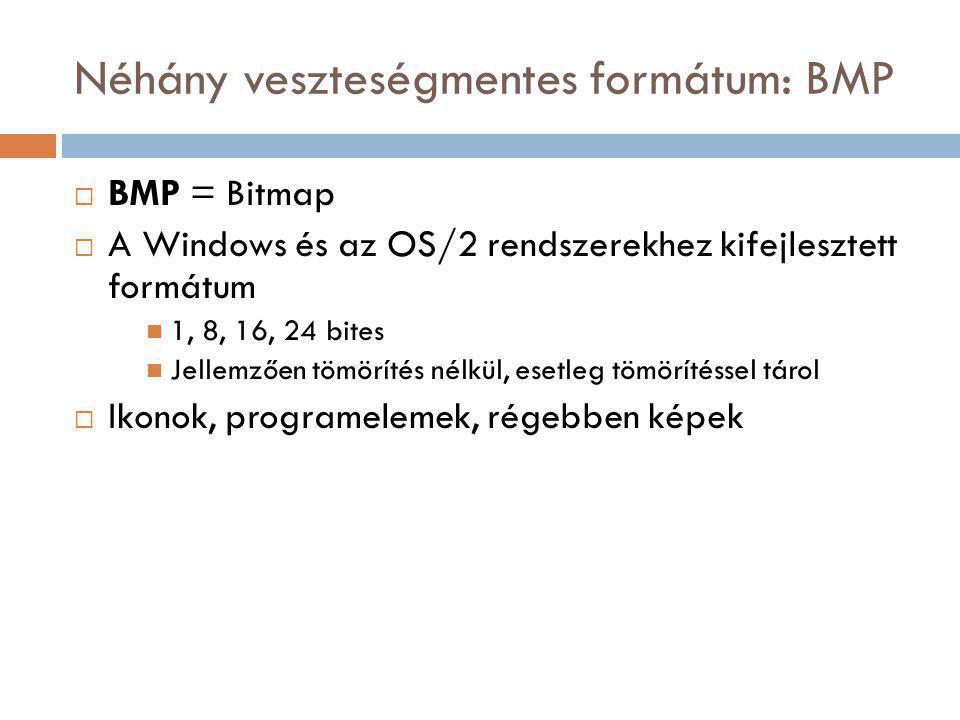 Néhány veszteségmentes formátum: BMP