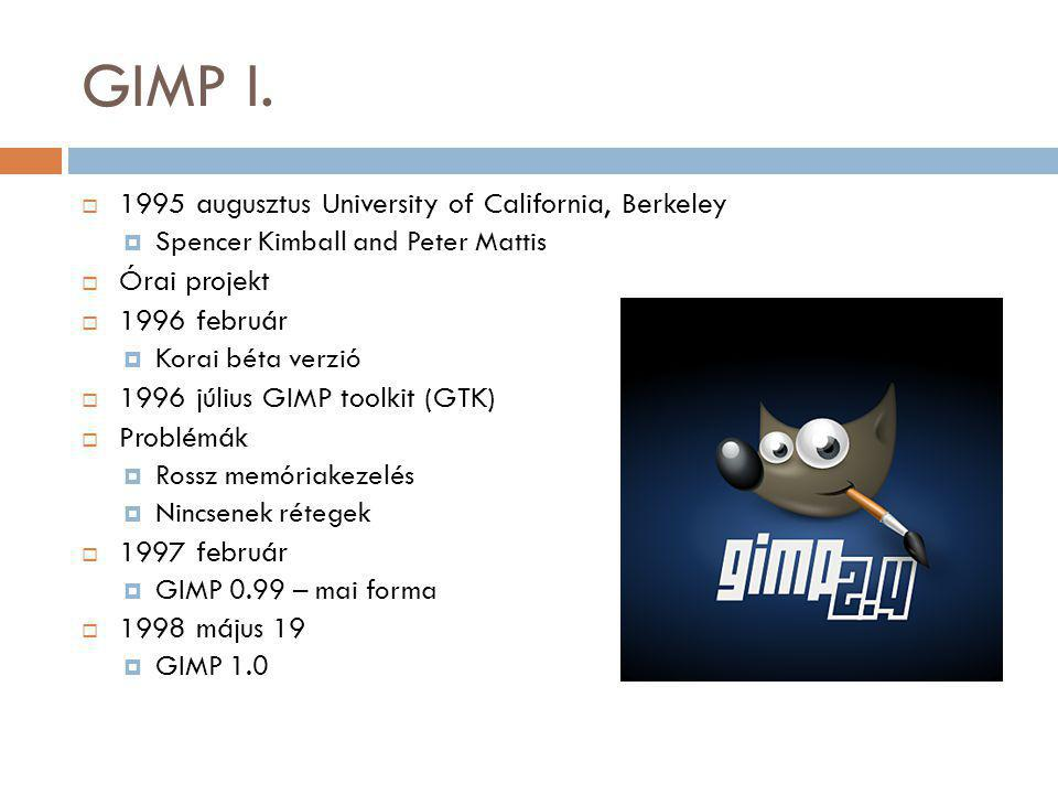 GIMP I. 1995 augusztus University of California, Berkeley Órai projekt