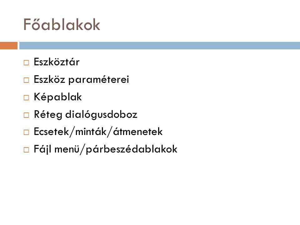 Főablakok Eszköztár Eszköz paraméterei Képablak Réteg dialógusdoboz