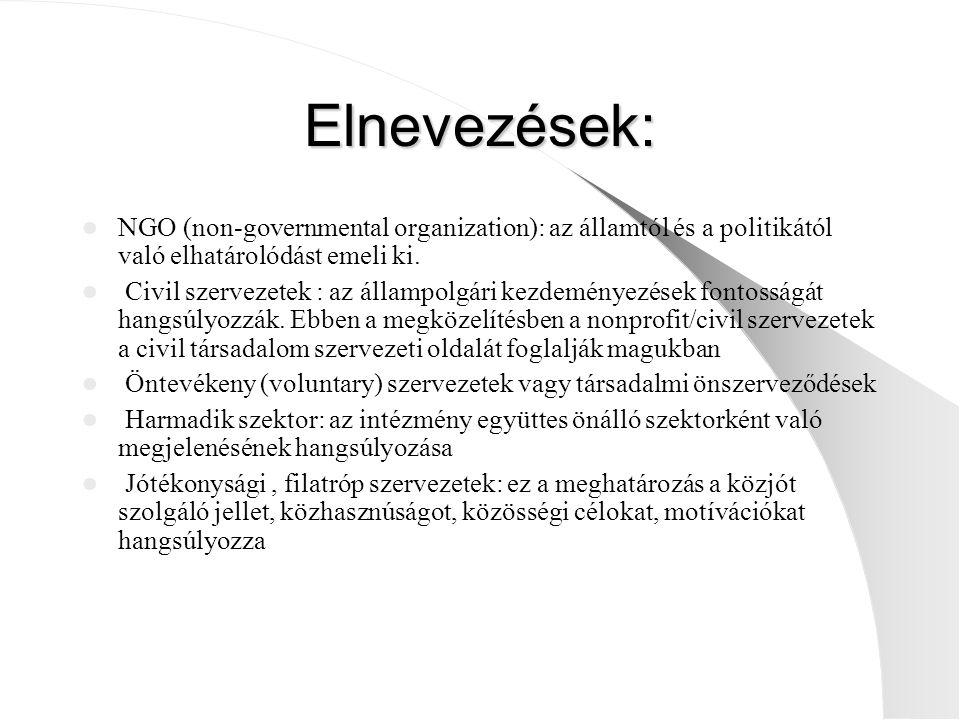 Elnevezések: NGO (non-governmental organization): az államtól és a politikától való elhatárolódást emeli ki.