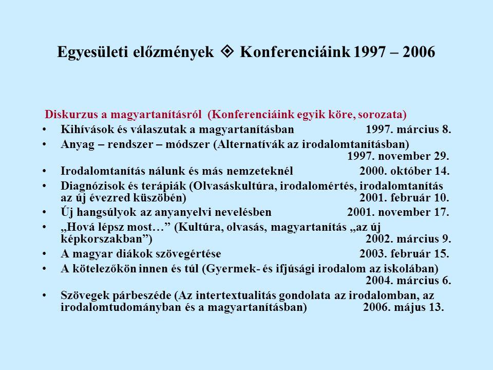 Egyesületi előzmények  Konferenciáink 1997 – 2006