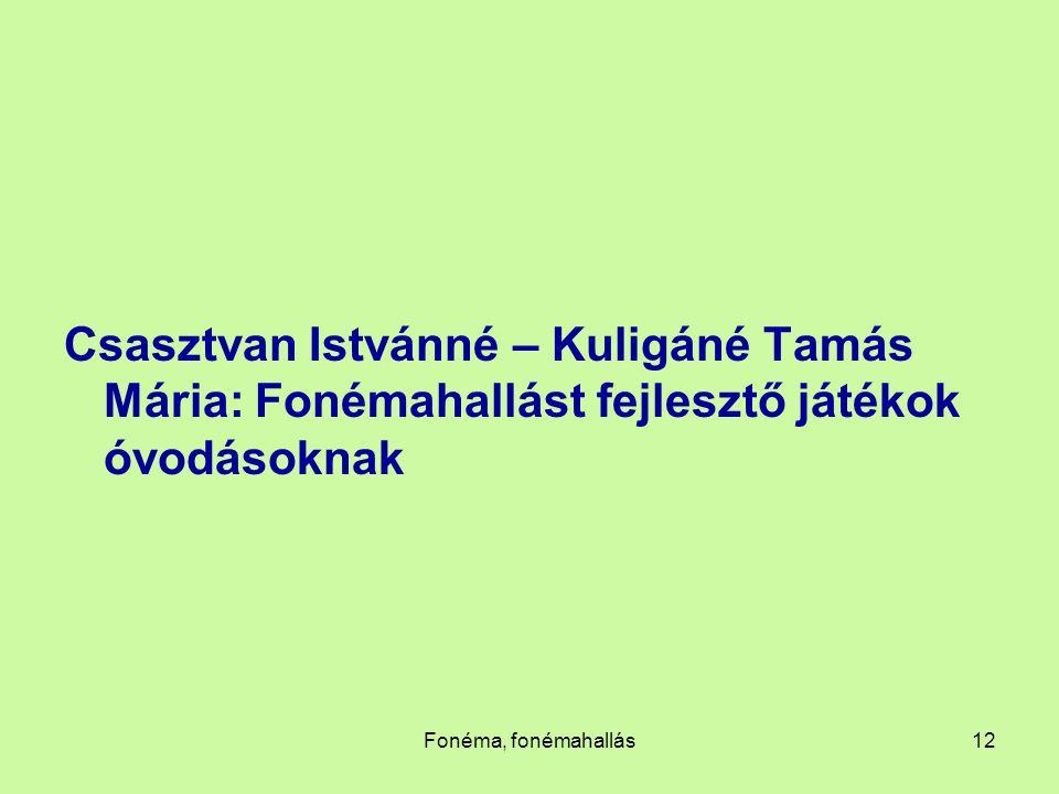 Csasztvan Istvánné – Kuligáné Tamás Mária: Fonémahallást fejlesztő játékok óvodásoknak