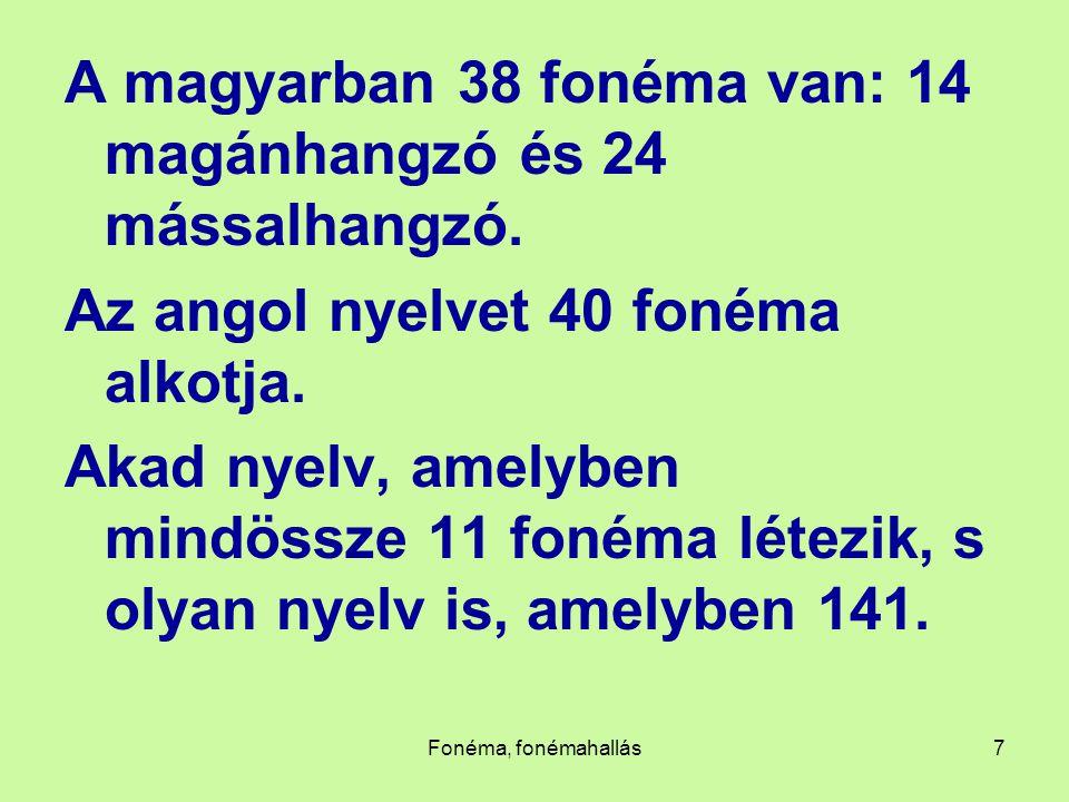 A magyarban 38 fonéma van: 14 magánhangzó és 24 mássalhangzó.