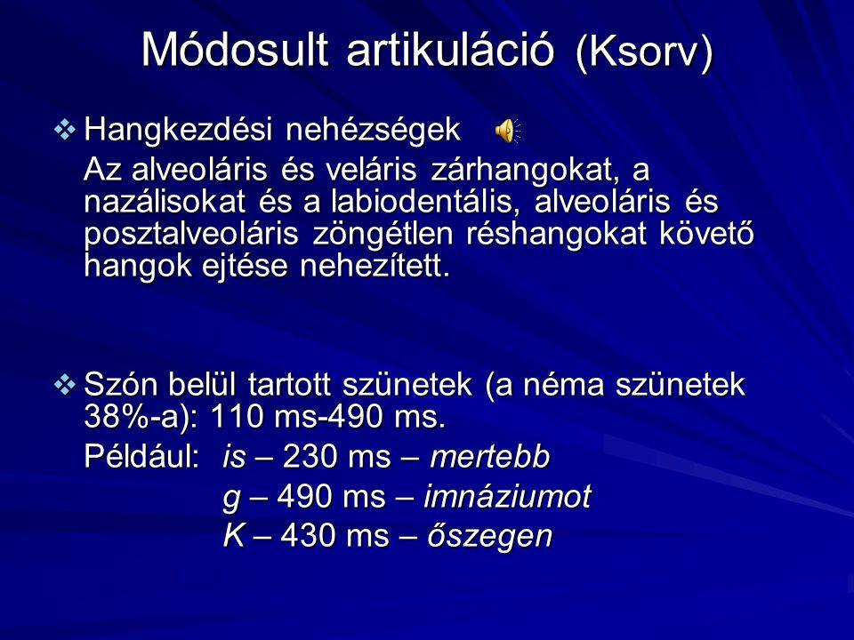 Módosult artikuláció (Ksorv)