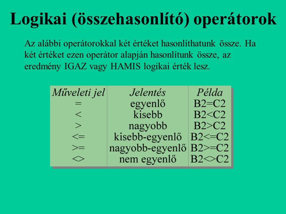 Logikai (összehasonlító) operátorok