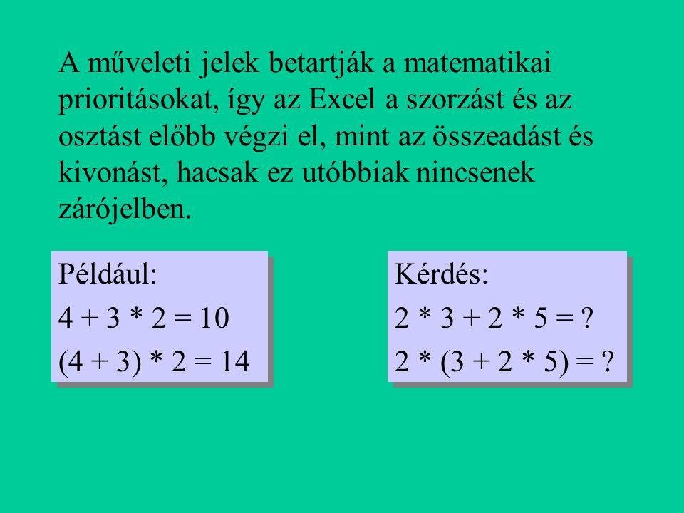 A műveleti jelek betartják a matematikai prioritásokat, így az Excel a szorzást és az osztást előbb végzi el, mint az összeadást és kivonást, hacsak ez utóbbiak nincsenek zárójelben.