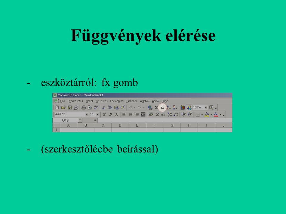 Függvények elérése eszköztárról: fx gomb (szerkesztőlécbe beírással)