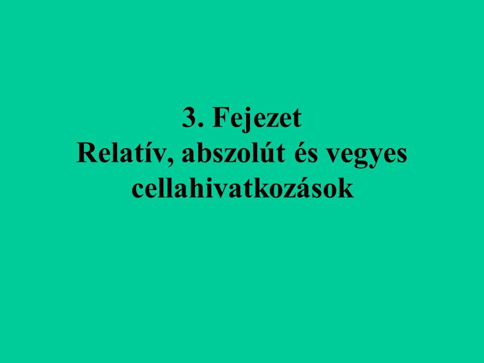 3. Fejezet Relatív, abszolút és vegyes cellahivatkozások