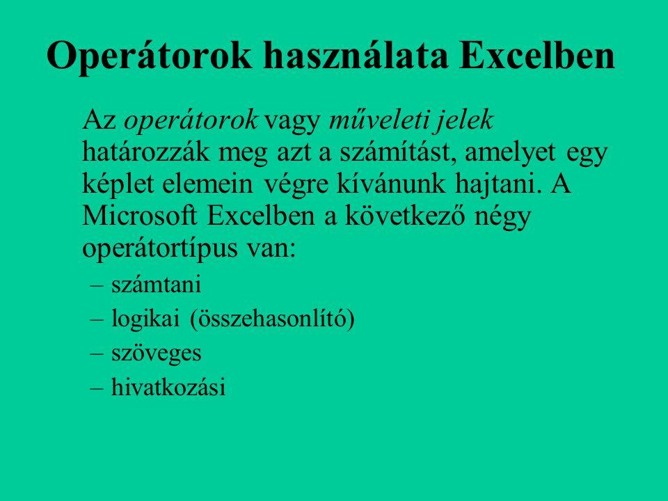 Operátorok használata Excelben