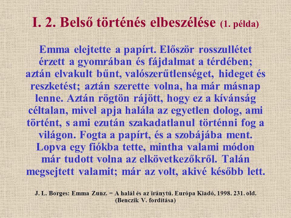 I. 2. Belső történés elbeszélése (1. példa) Emma elejtette a papírt