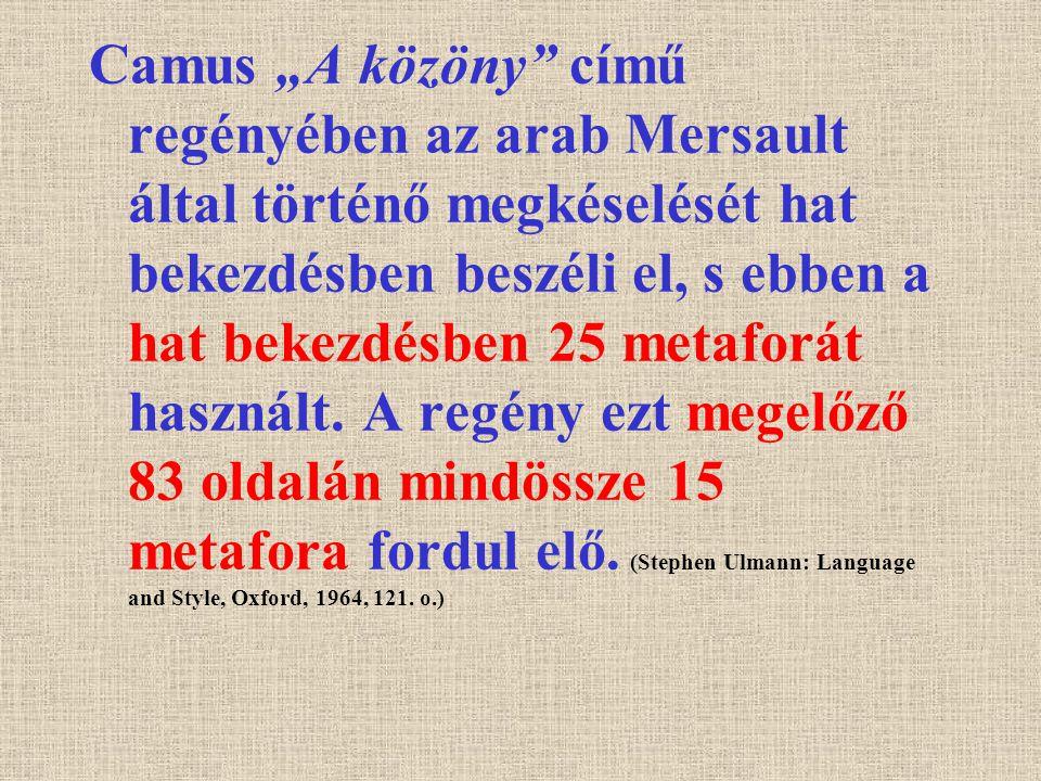 """Camus """"A közöny című regényében az arab Mersault által történő megkéselését hat bekezdésben beszéli el, s ebben a hat bekezdésben 25 metaforát használt."""