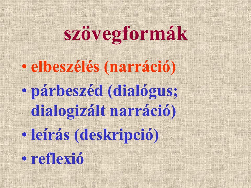 szövegformák elbeszélés (narráció)