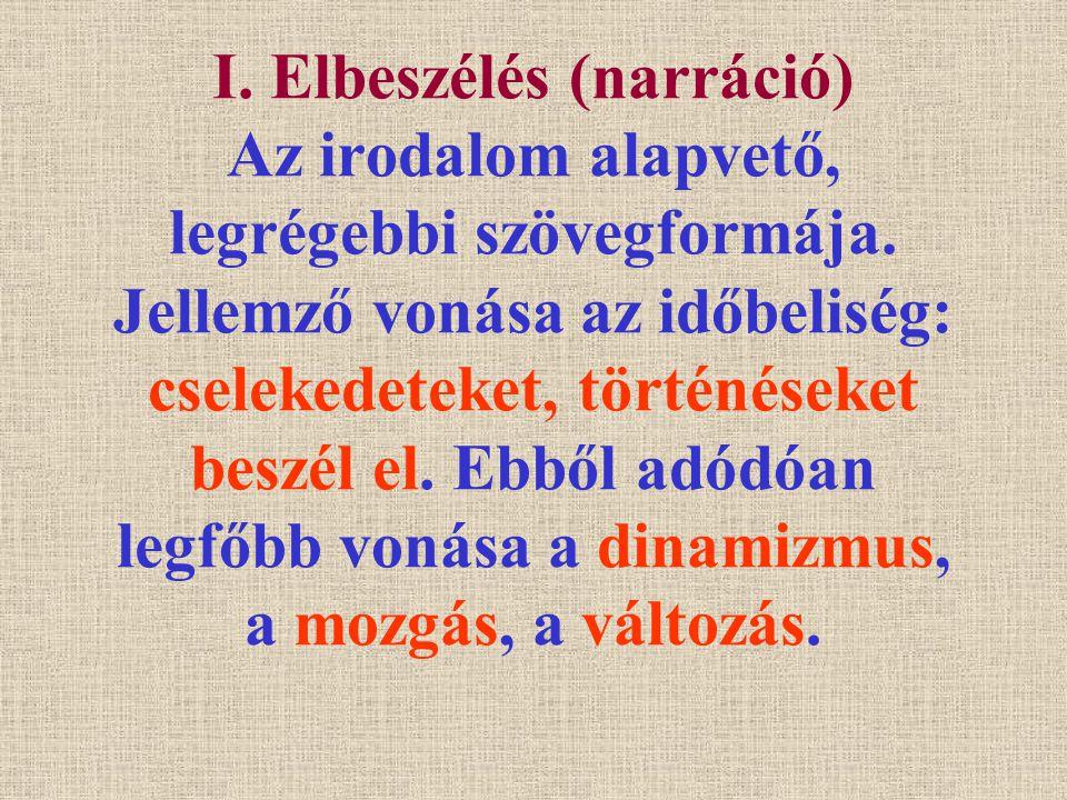 I. Elbeszélés (narráció) Az irodalom alapvető, legrégebbi szövegformája.