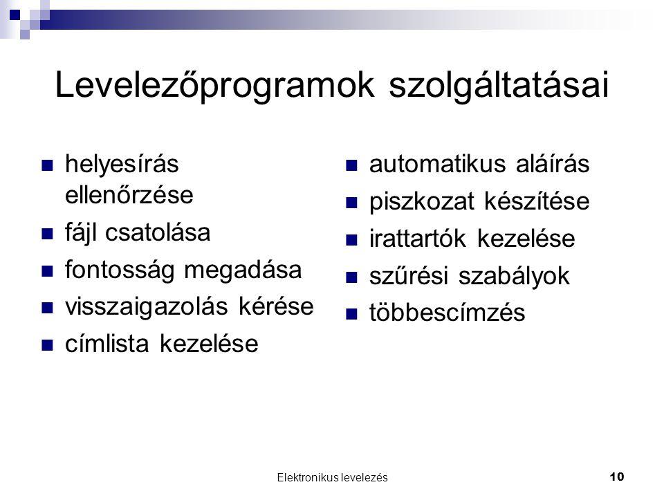 Levelezőprogramok szolgáltatásai