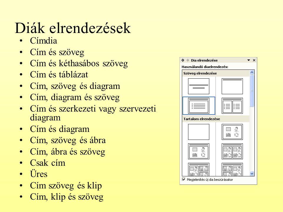 Diák elrendezések Címdia Cím és szöveg Cím és kéthasábos szöveg