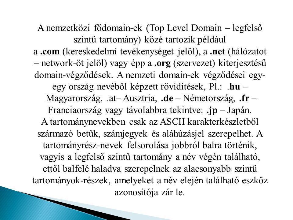 A nemzetközi fődomain-ek (Top Level Domain – legfelső szintű tartomány) közé tartozik például a .com (kereskedelmi tevékenységet jelöl), a .net (hálózatot – network-öt jelöl) vagy épp a .org (szervezet) kiterjesztésű domain-végződések. A nemzeti domain-ek végződései egy-egy ország nevéből képzett rövidítések, Pl.: .hu – Magyarország, .at– Ausztria, .de – Németország, .fr – Franciaország vagy távolabbra tekintve: .jp – Japán.