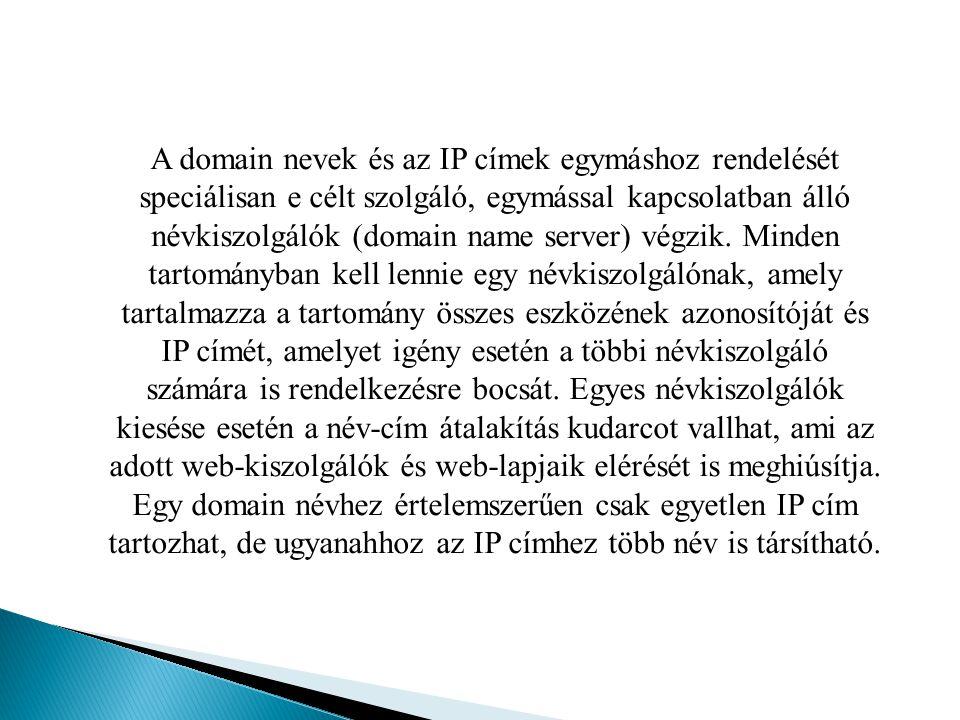 A domain nevek és az IP címek egymáshoz rendelését speciálisan e célt szolgáló, egymással kapcsolatban álló névkiszolgálók (domain name server) végzik.
