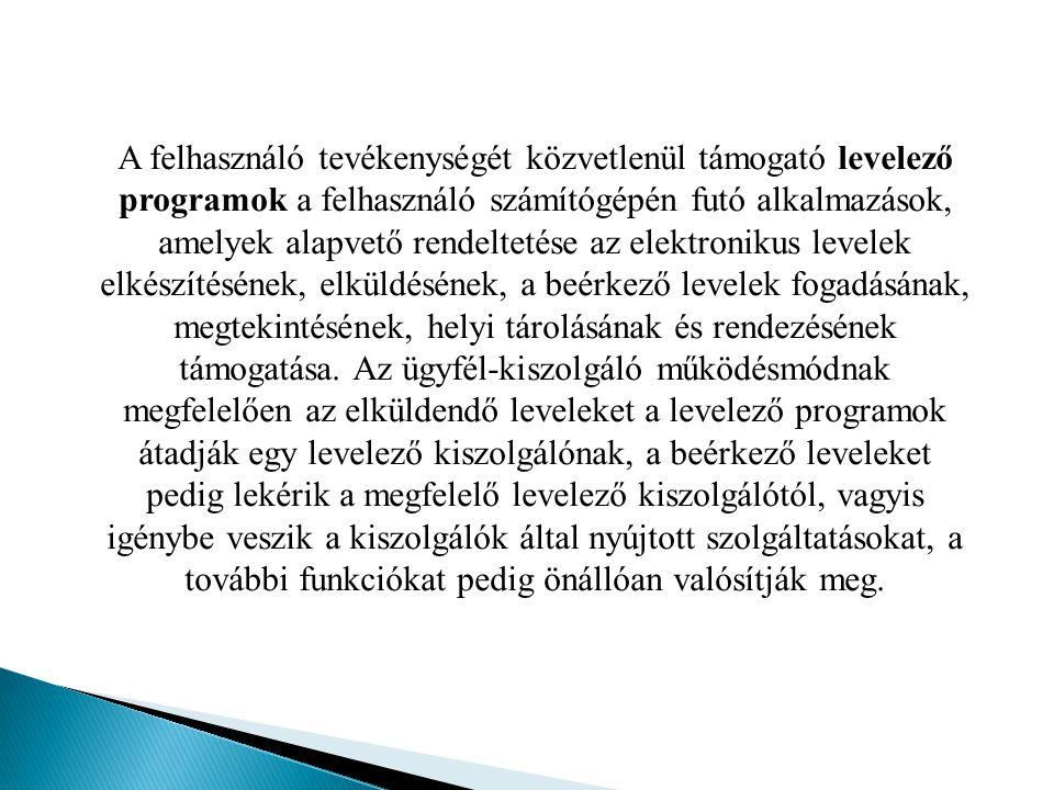 A felhasználó tevékenységét közvetlenül támogató levelező programok a felhasználó számítógépén futó alkalmazások, amelyek alapvető rendeltetése az elektronikus levelek elkészítésének, elküldésének, a beérkező levelek fogadásának, megtekintésének, helyi tárolásának és rendezésének támogatása.
