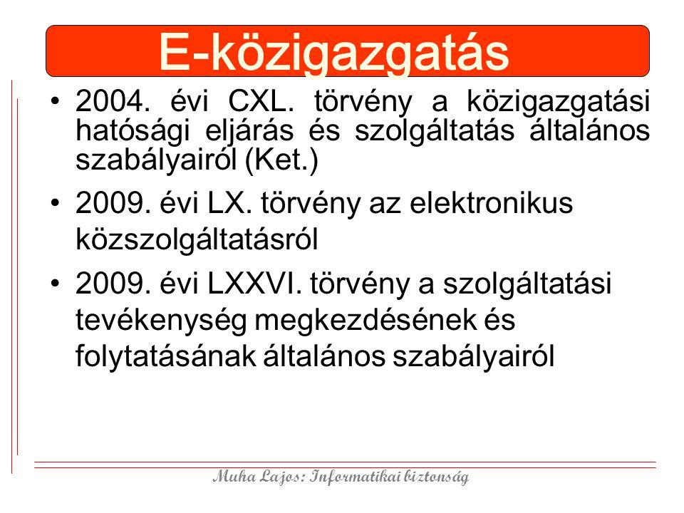 E-közigazgatás 2004. évi CXL. törvény a közigazgatási hatósági eljárás és szolgáltatás általános szabályairól (Ket.)