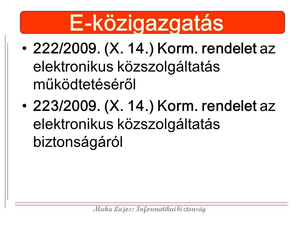 E-közigazgatás 222/2009. (X. 14.) Korm. rendelet az elektronikus közszolgáltatás működtetéséről.