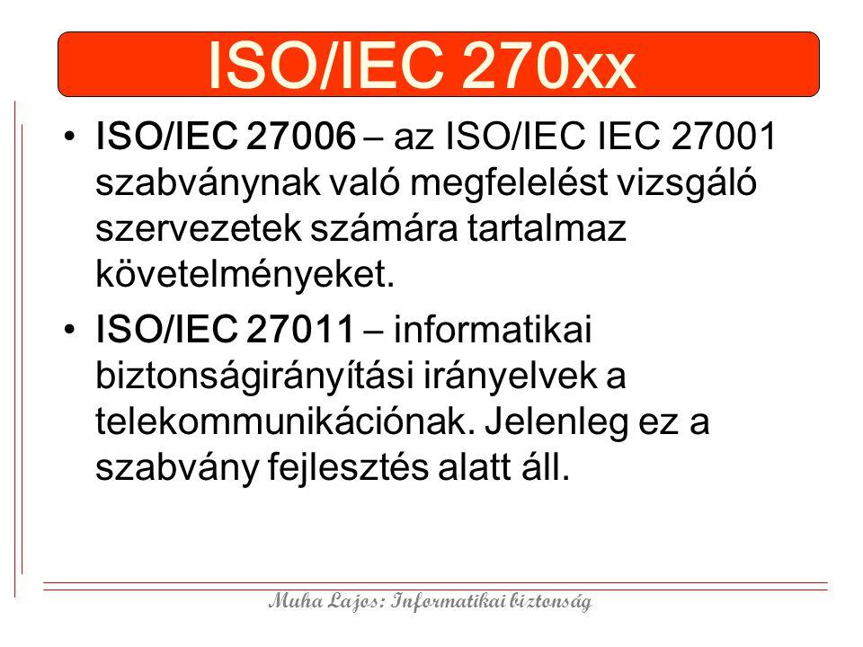 ISO/IEC 270xx ISO/IEC 27006 – az ISO/IEC IEC 27001 szabványnak való megfelelést vizsgáló szervezetek számára tartalmaz követelményeket.
