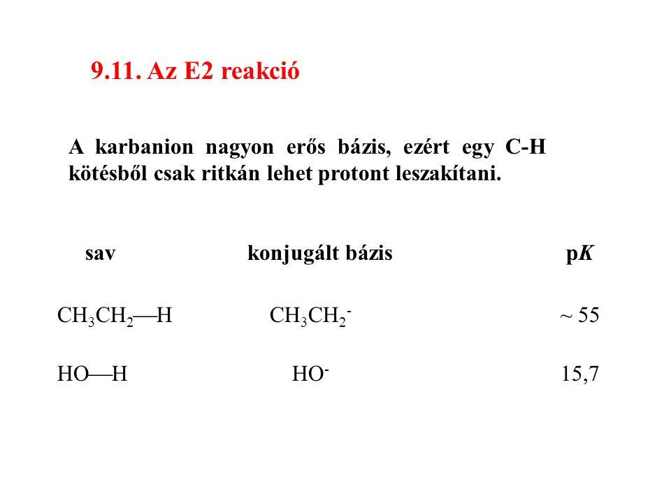 9.11. Az E2 reakció A karbanion nagyon erős bázis, ezért egy C-H kötésből csak ritkán lehet protont leszakítani.