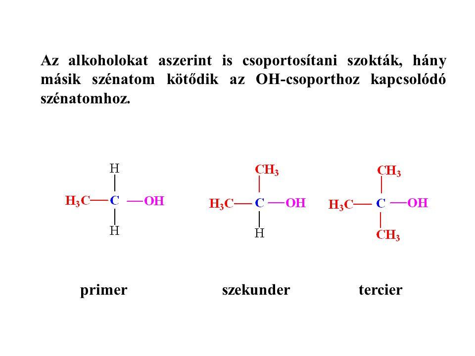 Az alkoholokat aszerint is csoportosítani szokták, hány másik szénatom kötődik az OH-csoporthoz kapcsolódó szénatomhoz.