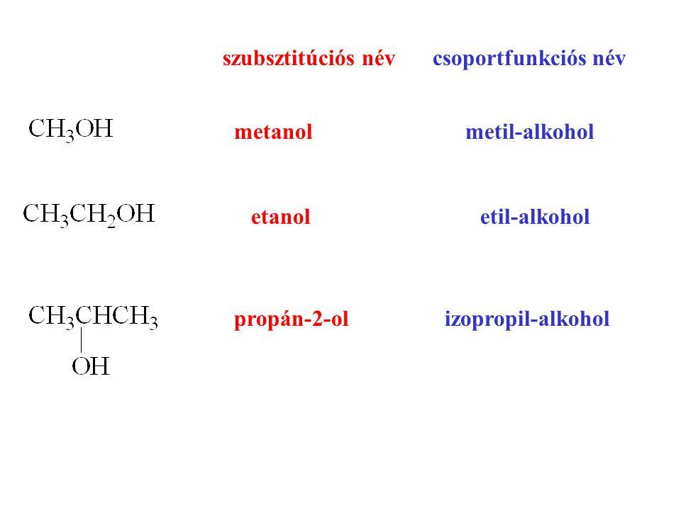 szubsztitúciós név csoportfunkciós név. metanol metil-alkohol. etanol etil-alkohol.