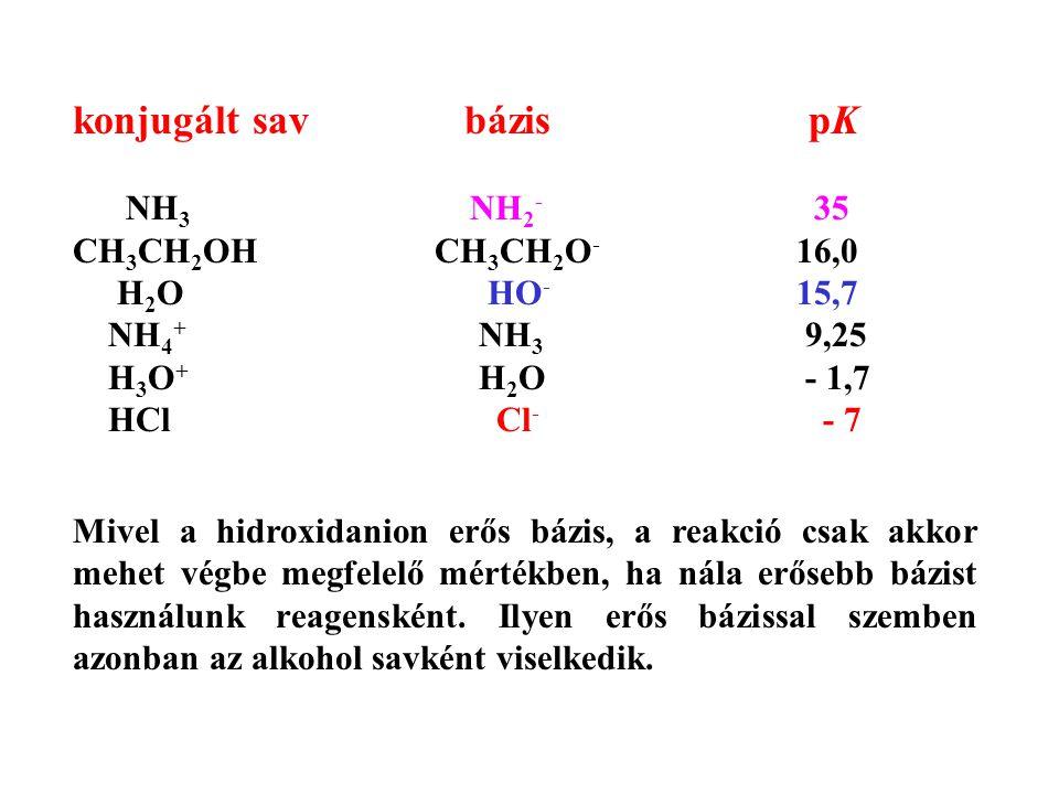 konjugált sav bázis pK NH3 NH2- 35 CH3CH2OH CH3CH2O- 16,0 H2O HO- 15,7
