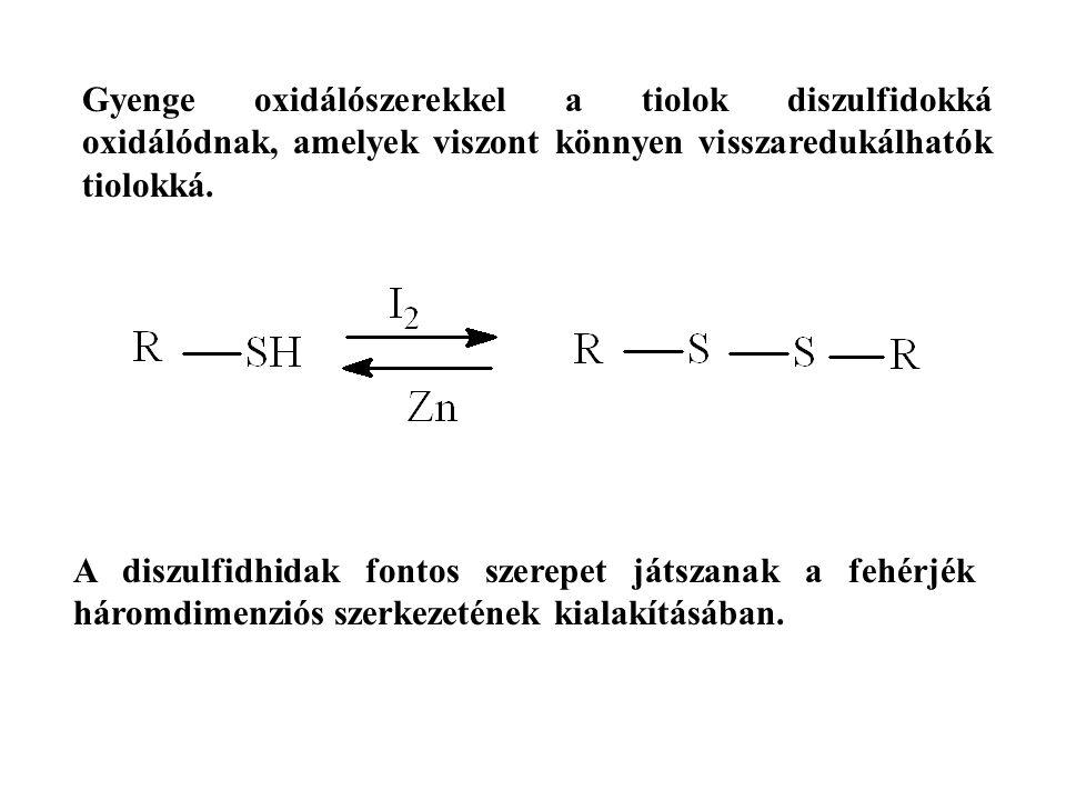 Gyenge oxidálószerekkel a tiolok diszulfidokká oxidálódnak, amelyek viszont könnyen visszaredukálhatók tiolokká.