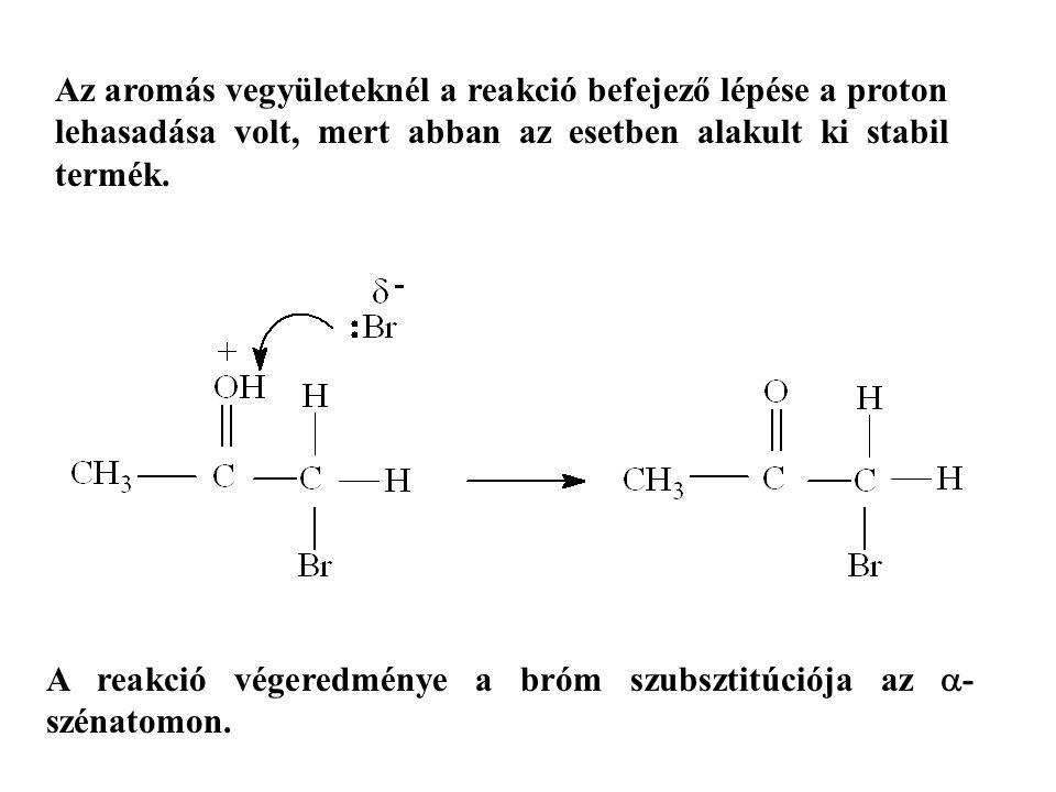 Az aromás vegyületeknél a reakció befejező lépése a proton lehasadása volt, mert abban az esetben alakult ki stabil termék.