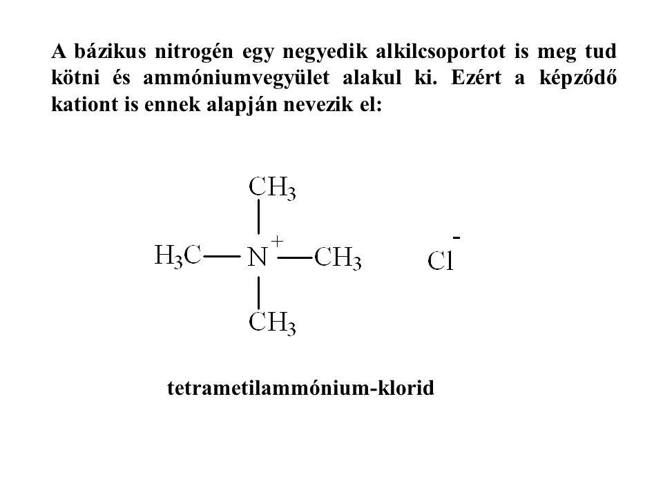 A bázikus nitrogén egy negyedik alkilcsoportot is meg tud kötni és ammóniumvegyület alakul ki. Ezért a képződő kationt is ennek alapján nevezik el: