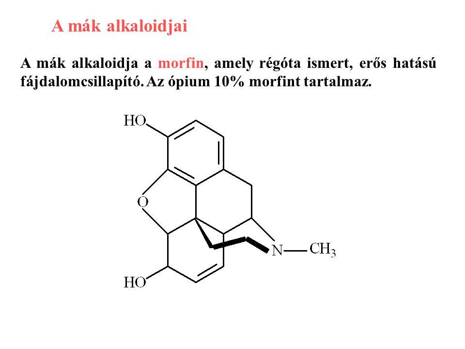 A mák alkaloidjai A mák alkaloidja a morfin, amely régóta ismert, erős hatású fájdalomcsillapító.