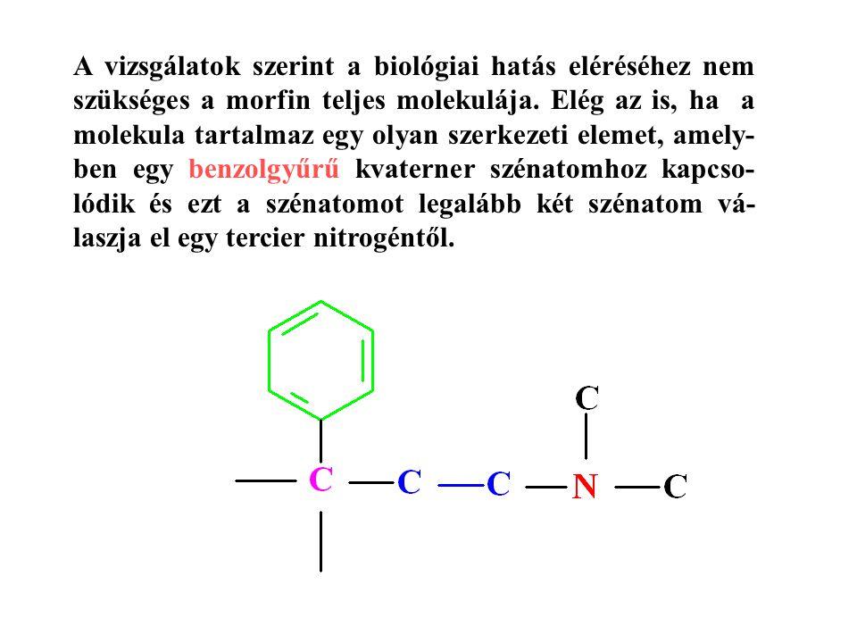 A vizsgálatok szerint a biológiai hatás eléréséhez nem szükséges a morfin teljes molekulája.