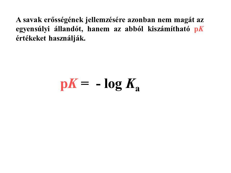 A savak erősségének jellemzésére azonban nem magát az egyensúlyi állandót, hanem az abból kiszámítható pK értékeket használják.