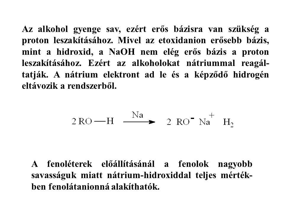 Az alkohol gyenge sav, ezért erős bázisra van szükség a proton leszakításához. Mivel az etoxidanion erősebb bázis, mint a hidroxid, a NaOH nem elég erős bázis a proton leszakításához. Ezért az alkoholokat nátriummal reagál-tatják. A nátrium elektront ad le és a képződő hidrogén eltávozik a rendszerből.