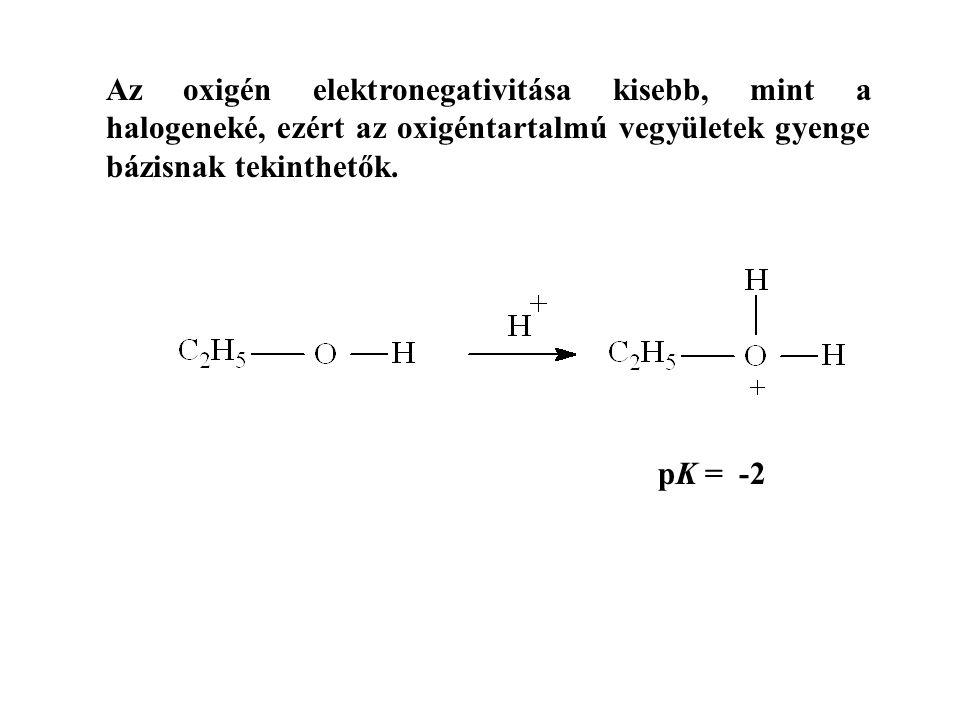 Az oxigén elektronegativitása kisebb, mint a halogeneké, ezért az oxigéntartalmú vegyületek gyenge bázisnak tekinthetők.