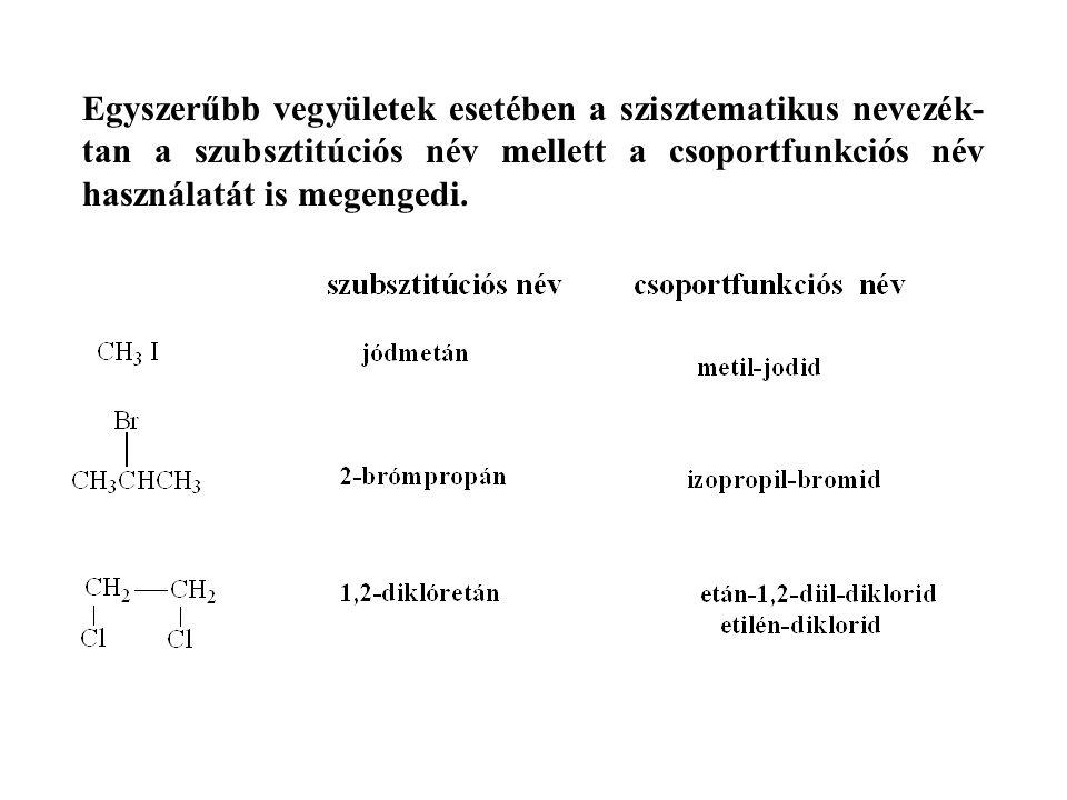 Egyszerűbb vegyületek esetében a szisztematikus nevezék-tan a szubsztitúciós név mellett a csoportfunkciós név használatát is megengedi.