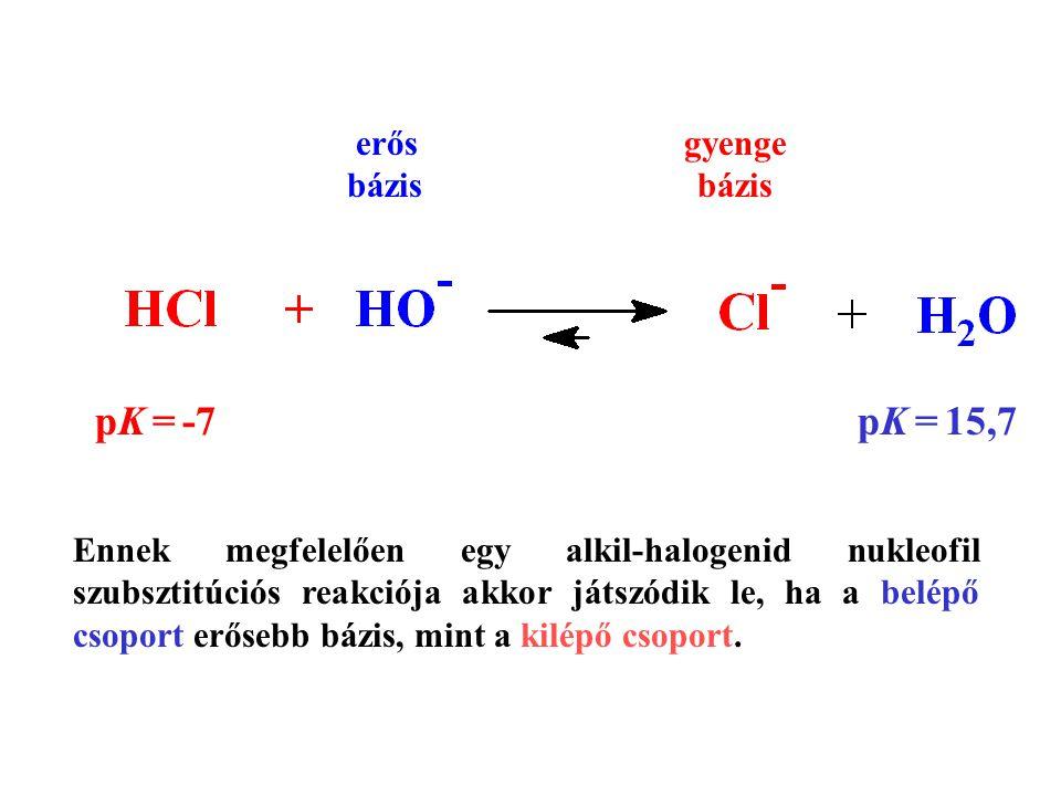 pK = -7 pK = 15,7 erős gyenge bázis bázis