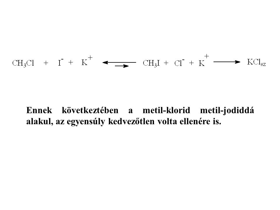Ennek következtében a metil-klorid metil-jodiddá alakul, az egyensúly kedvezőtlen volta ellenére is.