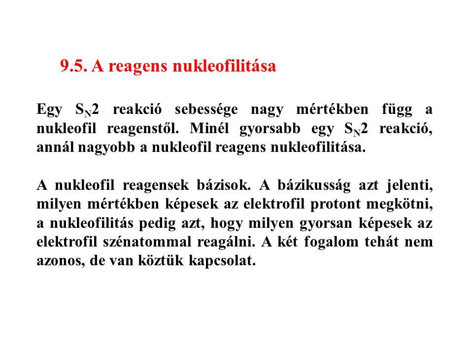 9.5. A reagens nukleofilitása