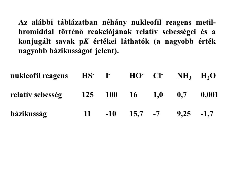Az alábbi táblázatban néhány nukleofil reagens metil-bromiddal történő reakciójának relatív sebességei és a konjugált savak pK értékei láthatók (a nagyobb érték nagyobb bázikusságot jelent).